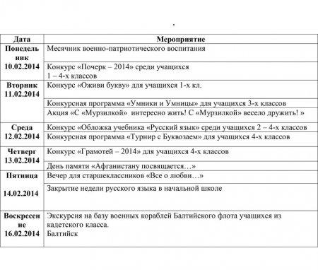 Мероприятия в школе с 10.02.2014 по 15.02.2014