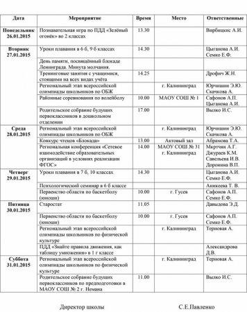 План работы школы с 26.01.2015 по 30.01.2015 гг.