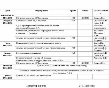 План работы школы с 02.03.2015 по 07.03.2015 гг.