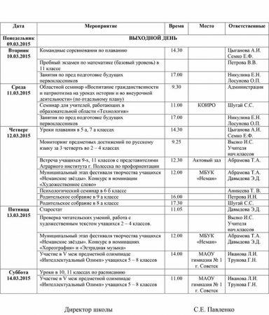 План работы школы с 09.03.2015 по 14.03.2015 гг.