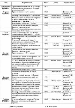 План работы школы с 20.04.2015 по 25.04.2015 гг.