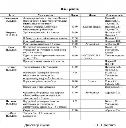 План работы школы с 19.10.2015 по 24.10.2015 гг.