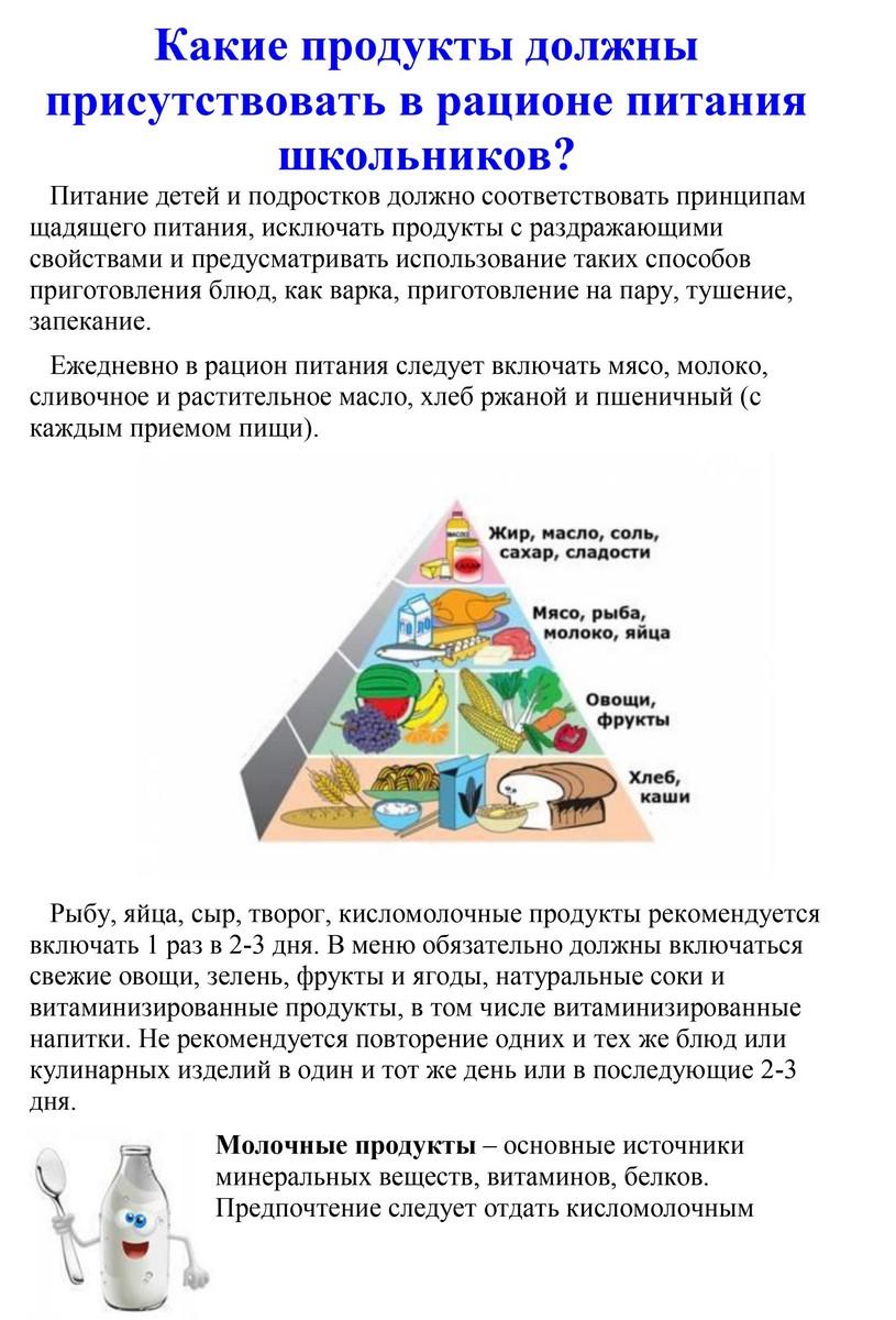 e483b5421869 Какие продукты должны присутствовать в рационе питания » МАОУ СОШ №2