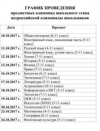 График проведения предметных олимпиад школьного этапа всероссийской олимпиады школьников